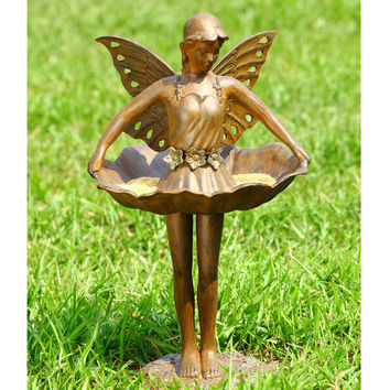 Aluminum Birdfeeder Featuring Fairy Ballerina Dancing and Holding Her Skirt by SPI-HOME