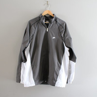 Nike Windbreaker Mesh Lining Cinched Hem Waterproof Shell Gray Nike Zip Up Jacket 90s Vintage Unisex Minimalist Size XL