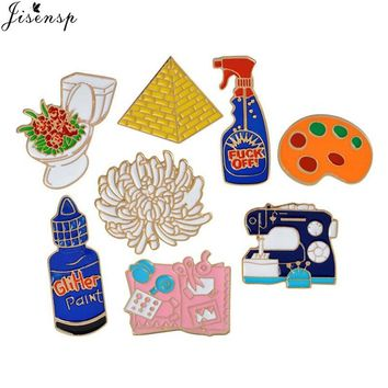 Trendy Jisensp Enamel Pins Toilet Flower Sewing Machine Palette Pyramid Paint Hand Tools Brooch Button Pin Denim Jacket Pin Badge Gift AT_94_13