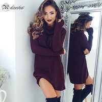 2016 Winter Elegant Stretchy Knitted Casual Dress Women Evening Party Sexy Bodycon Dress Girls Autumn Short Mini Pencil Vestidos