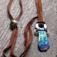 Rainbow Agate Leather Necklace Bohemian Jewelry