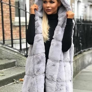 New Grey Plain Faux Fur Sleeveless Going out Cardigan Coat