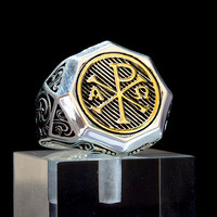 18K Gold Pld 925 Sterling Silver Chi-Rho Alpha Omega Ring Knights Templar Masonic