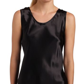Women's Satin Charmeuse Tailored Tanktop camisole, Black, X-Large