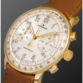 Junghans - Meister Telemeter Chronoscope Gold-Tone Stainless Steel and Leather Watch | MR PORTER