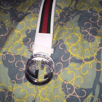Authentic Gucci Men's White Red Green Leather Web Stripe Belt
