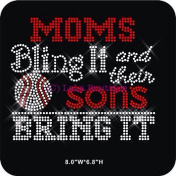 BASEBALL MOM - Moms Bling it and sons bring it - Rhinestone Iron on heat transfer for shirts - hotfix applique motif base ball