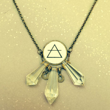 Boho Statement Necklace. Handmade Tribal Fusion Jewelry. Vintage Alchemy Symbol and Clear Antique Prisms. Geometric Brass Chain Necklace.