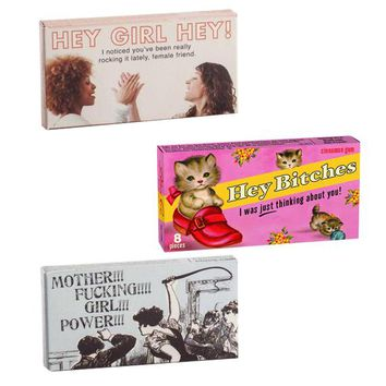 BlueQ Gum 3 Pack - Mother Fucking Girl Power, Hey Bitches and Hey Girl Hey