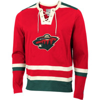 Minnesota Wild Old Time Hockey Maxfield Lace-Up Long Sleeve T-Shirt - Red