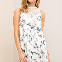 Blossoms and Lace Dress - Off White