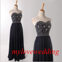 2014 New Black Beadwork Chiffon Long Formal Bridesmaid Dresses Prom Dresses Evening Dresses Party Dresses Plus Size