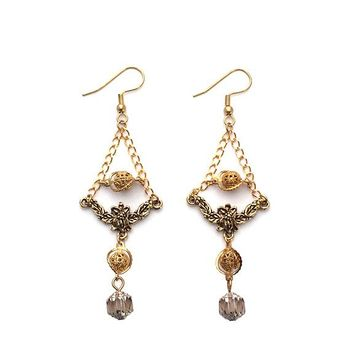 Gold Filigree Flower Topaz Drop Handmade Dangle Earrings