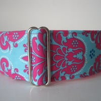 Damask Martingale Collar, 2 Inch Martingale Collar, Hot Pink Dog Collar, Damask Dog Collar, Greyhound Martingale, Sighthound Collar