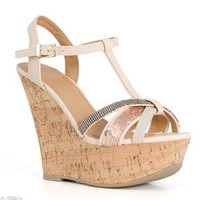 My Delicious Shoes Gemeza Embellished Cork Wedges GEMEZA-S-NUDE