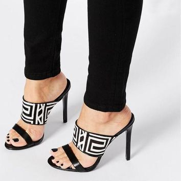 PU Peep-toe Summer Stiletto Heel Slipper Sandals