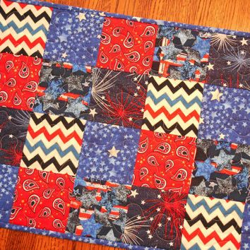 Patriotic Quilted Table Runner July 4th Red White and Blue Stars Stripes and Fireworks