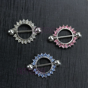 Surgical Steel Circle Sunflower Nipple Shield Ring