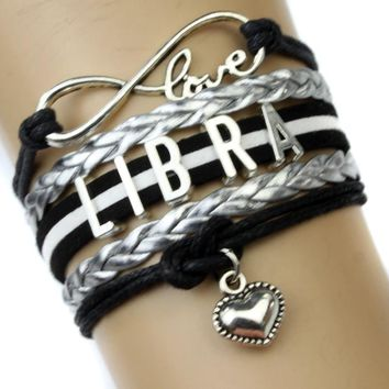 Infinity Love Libra Heart Charm Bracelet Twelve Constellations The Signs of the Zodiac Bracelet Black Silver