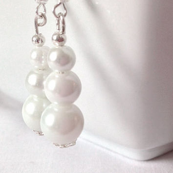 Handmade white glass pearl style beaded hook earrings anniversary gift wedding woman custom made