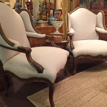 Pair of 1920's French Bergere Chairs