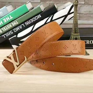 PEAPV LV Fashion Contracted Smooth Buckle Belt Leather Belt G-A-GFPDPF