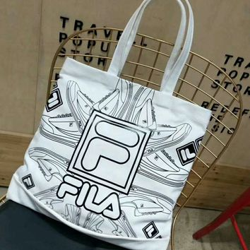 FILA Fashion new letter shoes print travel high capacity women and men canvas handbag shoulder bag White