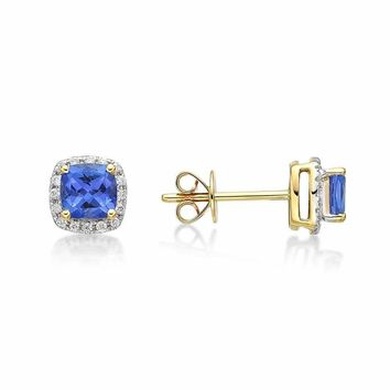 0.80Ct Blue CZ Created Square Halo Stud Earrings 14k White Gold Plated Blue CZ