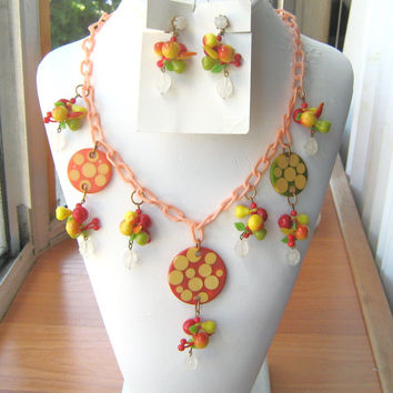 Vintage Bakelite Dotted Discs and Lucite Fruit Necklace Set 1930s-40s