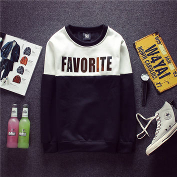 Winter Metal Alphabet Round-neck Pullover Hoodies Fashion Couple Jacket [6541168195]