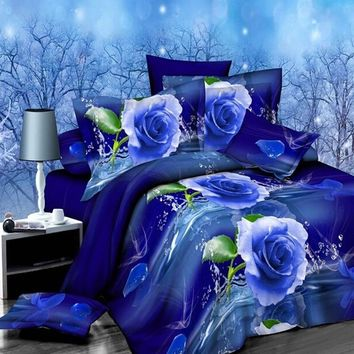 4Pcs 3D Blue Rose Printed Bedding Set Quilt Cover Bed Sheet Pillowcases Queen Size Bedspread Bedclothes