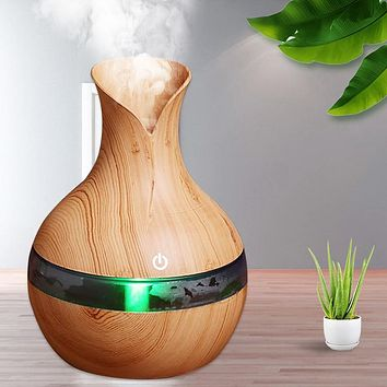 Essential Wood Grain Oil Diffuser Air Humidifier - Available in 6 Colors