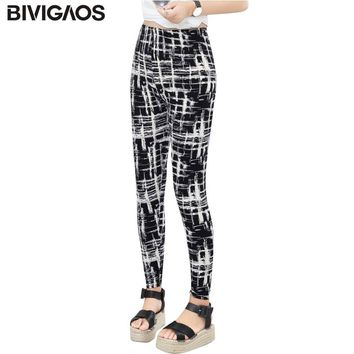 BIVIGAOS Women Colorful Graffiti Plaid Leggings