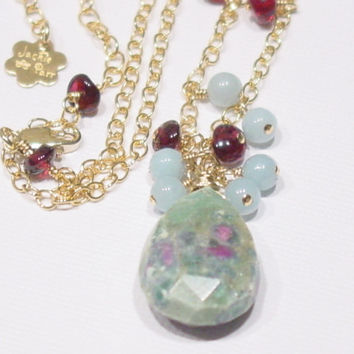 Ruby Zoisite Amazonite Garnet 14K Gold Filled Necklace