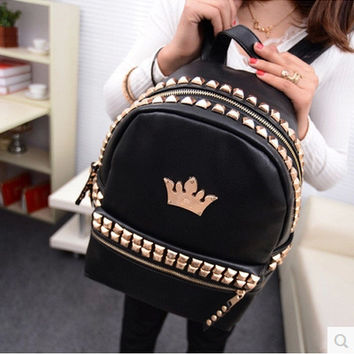 Back To School Comfort Stylish Hot Deal Casual On Sale College Bags Crown Rivet Korean Backpack [6583221511]