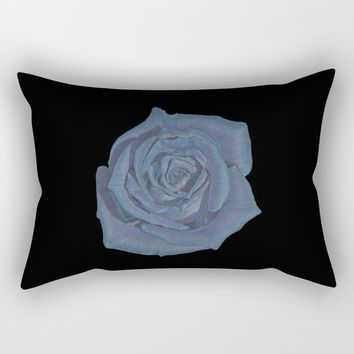 Blue Rose Rectangular Pillow by drawingsbylam