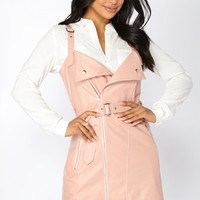 Ridin' Solo Leather Dress - Blush