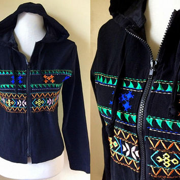 black embroidered hooded jacket (small to medium), tribal print zippered hoodie
