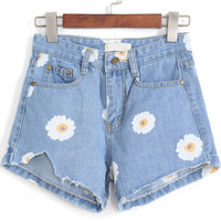 Blue Daisy Print Denim Shorts