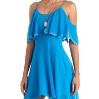 Lace-Trimmed Cold Shoulder Flounce Dress - Blue Glow