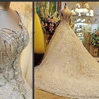 Wedding Sweetheart Long Sparkling Luxurious Custom Made
