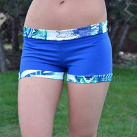 SAMPLE SALE Bikram Shorts Hot Sexy Short Shorts Yoga Dance Fitness Pilates Activewear Stretchy Comfy Shorts Pants In Royal Blue Batic XS S