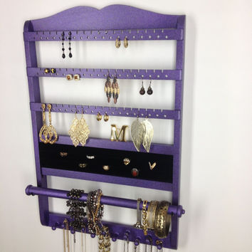 Purple Glitter Holder Deluxe, Jewelry Organizer Earring Display, Ring Compartment, Necklace Holder, Wall Mount, Solid Oak Hardwood
