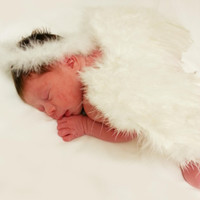 Angel Wings and Halo Set Newborn Baby Photo Prop
