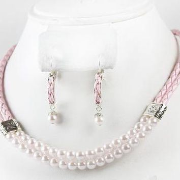 Faux Pink Leather & Pearl 2-Strand Necklace & Earrings Set