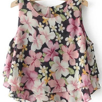 Floral Sleeveless Layered Cropped Top