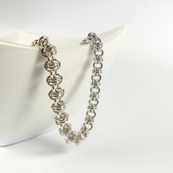 Barrel Weave Double Vision Chainmaille Bracelet Sterling Silver Jewellery 925
