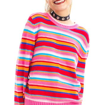Vintage Y2K Lily Rainbow Striped Sweater - One Size Fits Many