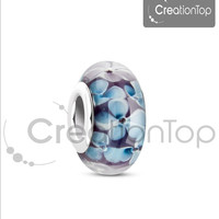 Murano glass european Bead for any Pandora bracelet with flowers