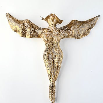 Angel Statues - Metal sculpture - Sexy nude metal torso - wire mesh - fairy sculpture- metal wall art - angel figurines